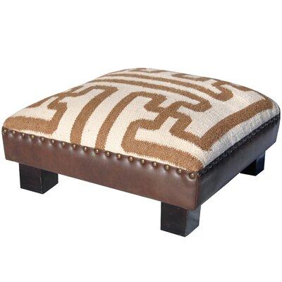 Upholstered Ottoman Upholstery: Ivory/Tan