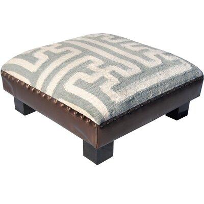 Upholstered Ottoman Upholstery: Ivory/Gray