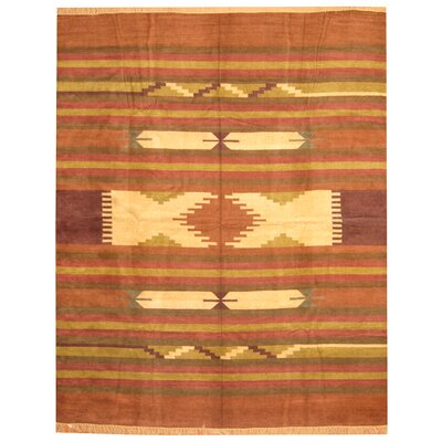 Hand-Woven Rust/Brown Area Rug Rug Size: 8 x 10