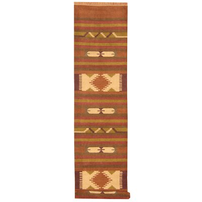 Hand-Woven Rust/Brown Area Rug Rug Size: Runner 26 x 12