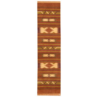 Hand-Woven Rust/Brown Area Rug Rug Size: Runner 26 x 10