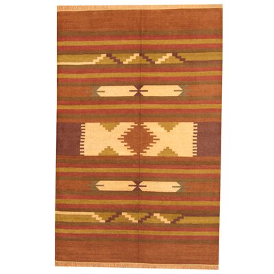 Hand-Woven Rust/Brown Area Rug Rug Size: 6 x 9