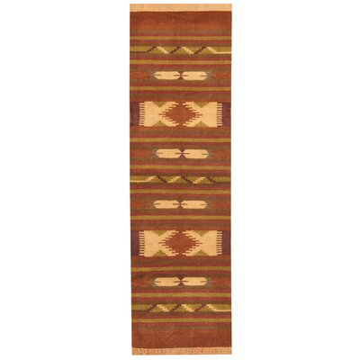 Hand-Woven Rust/Brown Area Rug Rug Size: Runner 26 x 8