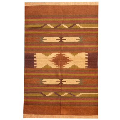 Hand-Woven Rust/Brown Area Rug Rug Size: 4 x 6