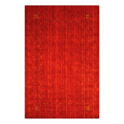 Hand-loomed Gabbeh Red/ Green Wool Rug