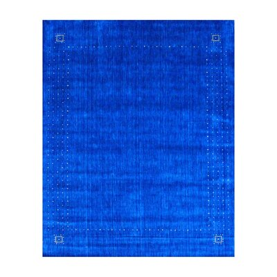 Hand-loomed Gabbeh Blue/ Beige Wool Rug Rug Size: Rectangle 8 x 10