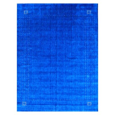 Hand-loomed Gabbeh Blue/ Beige Wool Rug Rug Size: 9 x 12
