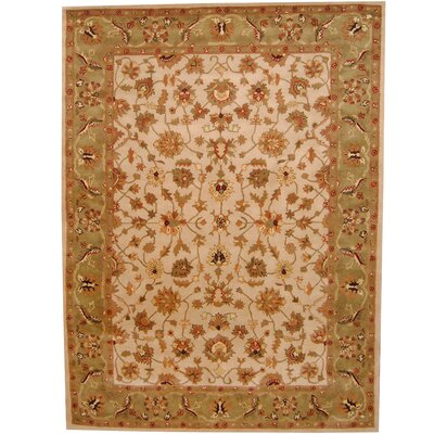 Ivory/ Green Area Rug Rug Size: Rectangle 8 x 11
