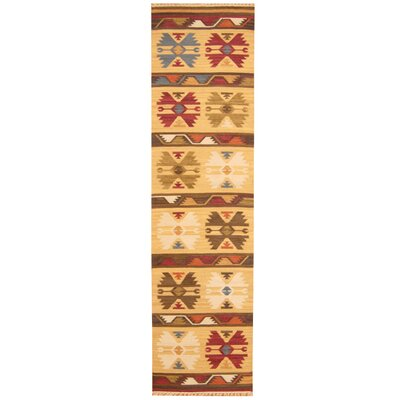 Hand-Woven Ivory/Green Area Rug