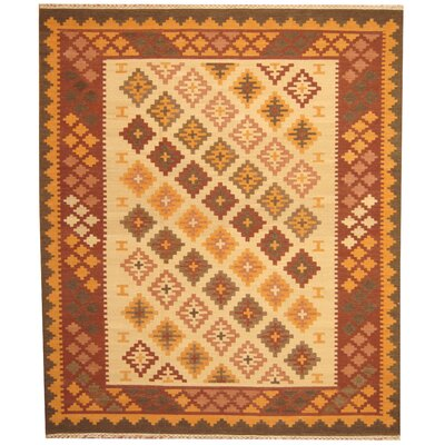 Hand-Woven Ivory/Rust Area Rug