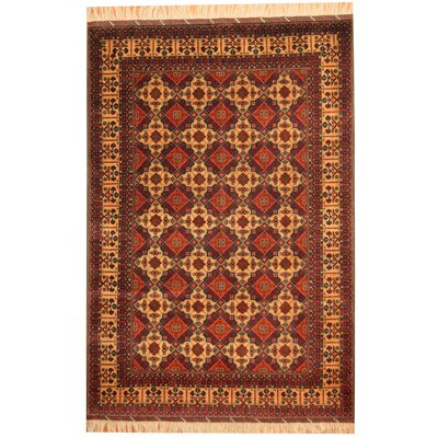Afghan Tribal Turkoman Hand-Knotted Gold/Red Area Rug