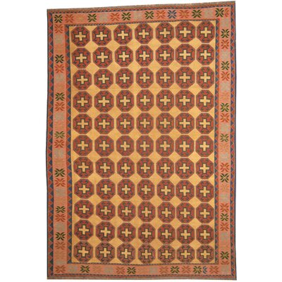 Afghan Tribal Soumak Handwoven Gold/Salmon Wool Kilim