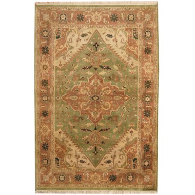Heriz Hand-Knotted Light Green/Salmon Area Rug
