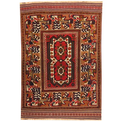Afghan Tribal Soumak Hand-Knotted Red/Ivory Area Rug