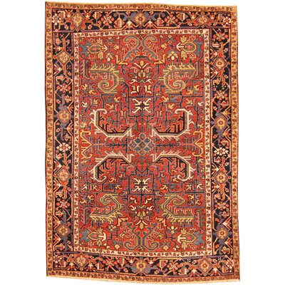Persian Heriz Hand-Knotted Red/Navy Area Rug