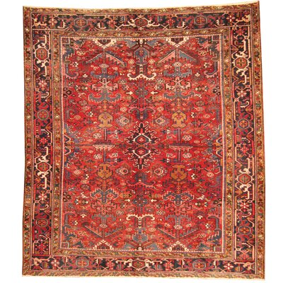 Persian Heriz Hand-Knotted Red/ Navy Area Rug