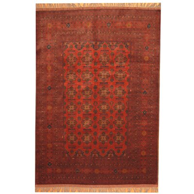 Khal Mohammadi Hand-Knotted Burgundy/Navy Area Rug