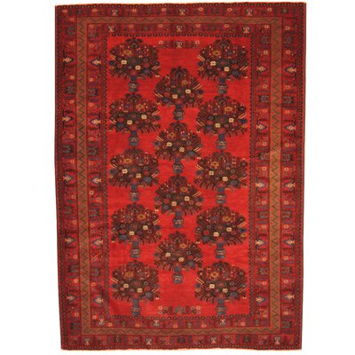 Persian Tribal Balouchi Hand-Knotted Red/Navy Area Rug