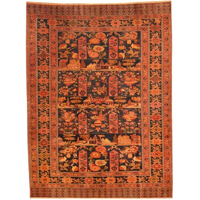 Persian Tribal Oushak Hand-Knotted Navy/Salmon Area Rug