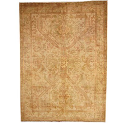 Hand-Knotted Gold/Green Area Rug