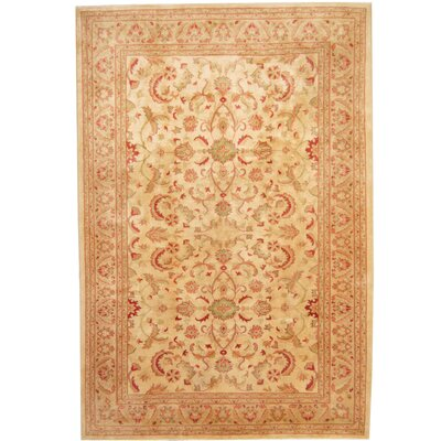 Hand-Knotted Ivory/Green Area Rug