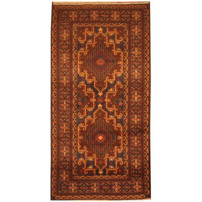 Hand-Knotted Navy/Red Area Rug