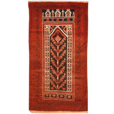 Balouchi Hand-Knotted Navy/Red Area Rug