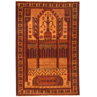 Balouchi Hand-Knotted Peach/Red Area Rug