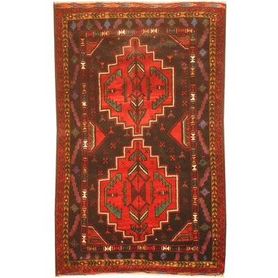 Balouchi Hand-Knotted Black/Red Area Rug