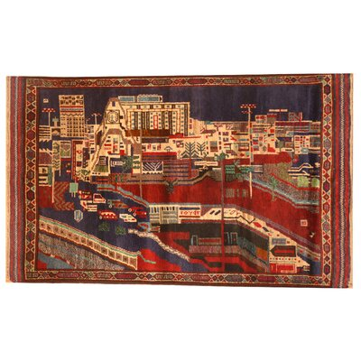 Balouchi Hand-Knotted Red/Navy Area Rug