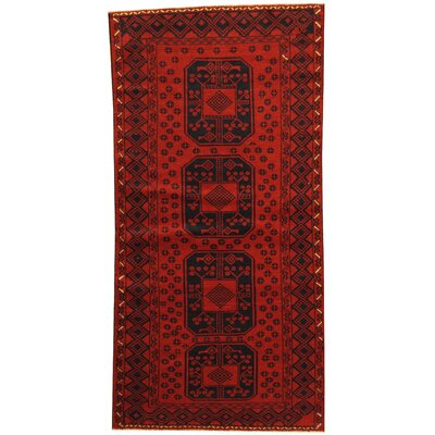 Barlowe Tribal Balouchi Hand-Knotted Red/Navy Wool Area Rug