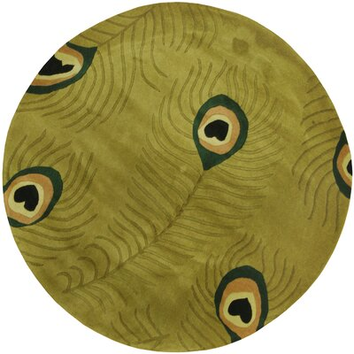 Hand-tufted Gabbeh Green/ Ivory Round Wool Rug