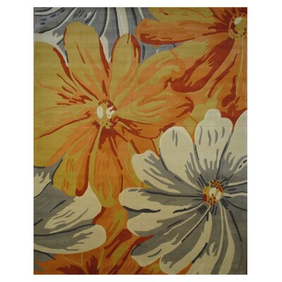 Hand-Tufted Gray/Orange Area Rug Rug Size: 8 x 10