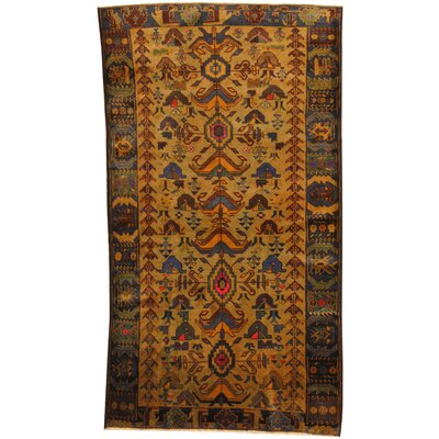 Balouchi Hand-Knotted Tan/Navy Area Rug