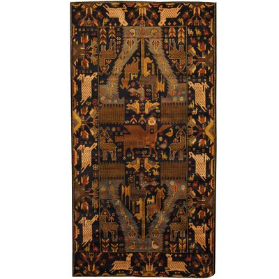 Balouchi Hand-Knotted Navy/Ivory Area Rug