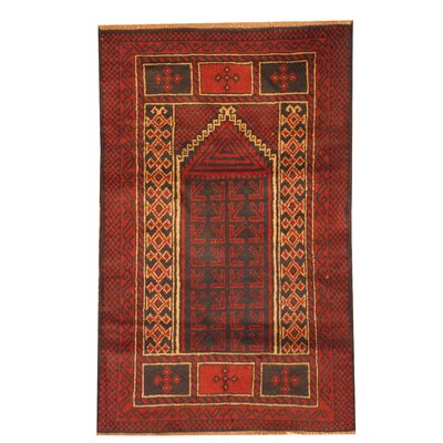 Balouchi Hand Knotted Wool Red/Navy Area Rug