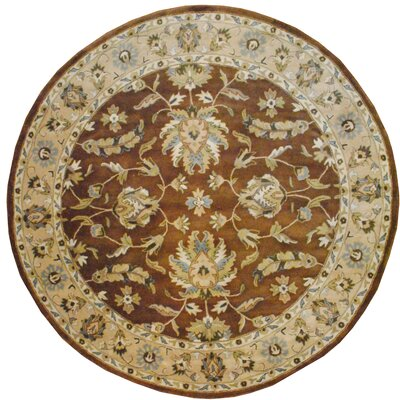 Hand Tufted Wool Brown/Beige Area Rug Rug Size: Round 8