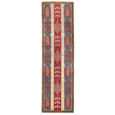 Kazak Hand-Knotted Red/Light Blue Area Rug