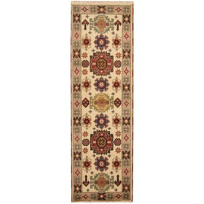 Kazak Hand-Knotted Ivory/Gray Area Rug