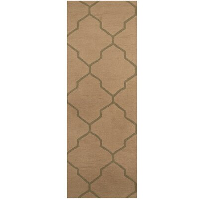 Hand-Tufted Beige/Dark Green Area Rug