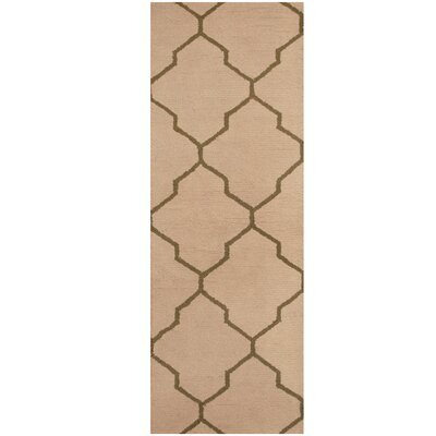Hand-Tufted Ivory/Dark Green Area Rug