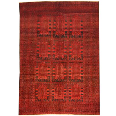 Balouchi Hand-Knotted Red/Black Area Rug