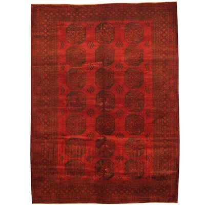 Tribal Turkoman Hand-Knotted  Red/Black Area Rug