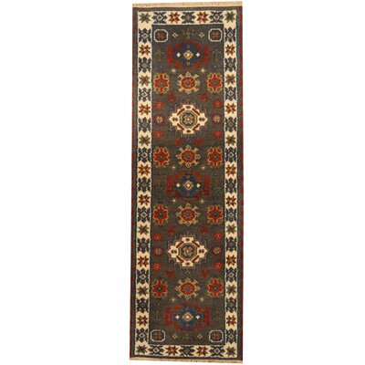 Kazak Hand-Knotted Gray/Ivory Area Rug