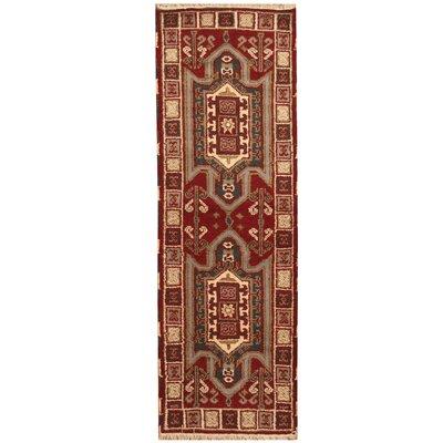 Kazak Hand-Knotted Burgundy/Ivory Area Rug
