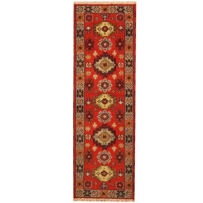 Kazak Hand-Knotted Orange/Gray Area Rug