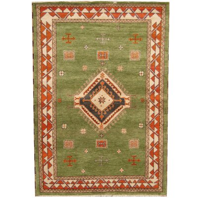 Kazak Hand-Knotted Green/Rust Area Rug