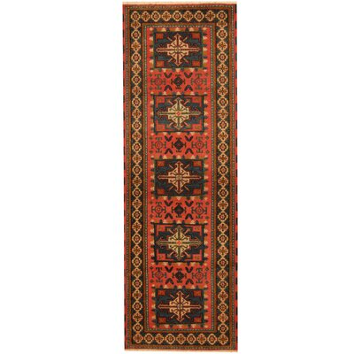 Kazak Hand-Knotted Salmon/Light Blue Area Rug