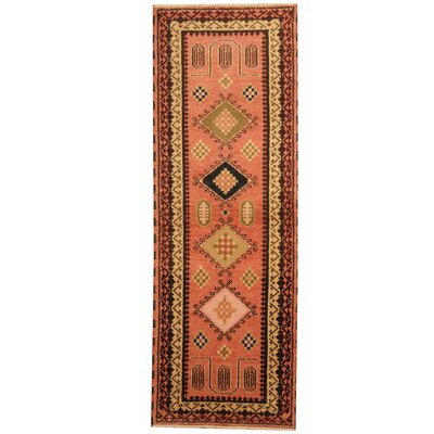 Kazak Hand-Knotted Salmon/Beige Area Rug
