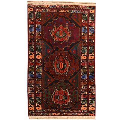 Balouchi Hand-Knotted Navy/Burgundy Area Rug